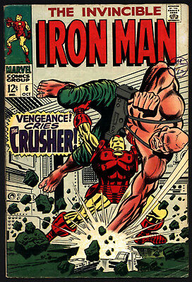 Iron Man #6 Oct 1968. Versus The Crusher, Ultra Glossy Cover! Lovely White Pages