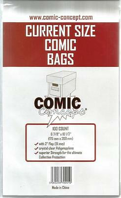 Comic Concept Current Size Comic Bags Pack of 100 Bags - New