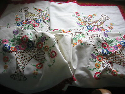 Vintage Linen  Tablecloth Hand Embroidered Flower Baskets Crochet Lace Border