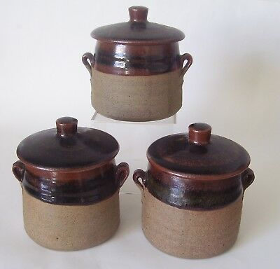 DAVID LEACH - LOWERDOWN POTTERY - STONEWARE LIDDED POTS WITH HANDLES x 3