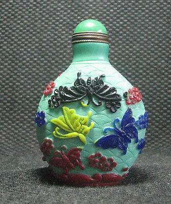 Tradition Chinese Glass Carve Five Colours Butterfly Design Snuff Bottle