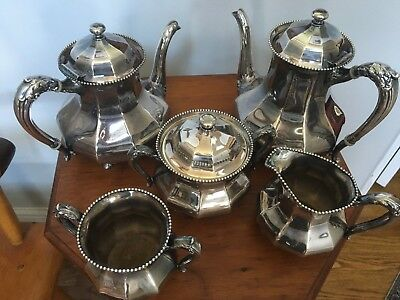 5-Piece Plated Tea Set (w/ Waste) 3560 (Silverplate,Hollwware) by REED & BARTON