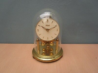 Vintage Kundo Brass Wind Up Anniversary Clock With Glass Dome