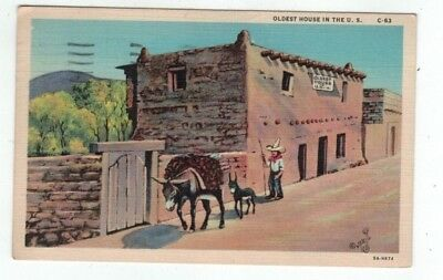 NM Santa Fe New Mexico antique 1936 linen post card Oldest House in the US