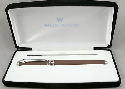 Wedgwood DKP Chocolate Brown Jasperware & Chrome Rollerball Pen - New In Box