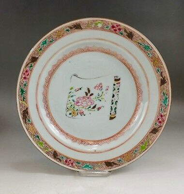 """A fine Chinese 18C famille rose """"flowers on scroll"""" plate-Yongzheng"""