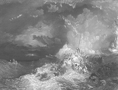 SHIPWRECK BOAT ON FIRE AT SEA PEOPLE DROWNING ~ Antique 1861 Art Print Engraving