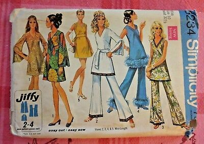 VTG 60s Simplicity Jiffy hippie mini dress top & bell bottom pants pattern 8234!