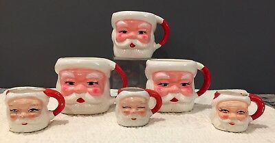 Vintage Santa Face Mugs, 3 Mini, 3 Regular, Made in Japan