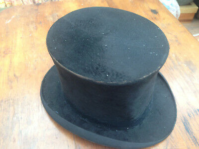 Rare  Vintage silk Black Top Hat   best quality London trade mark