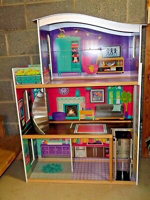 Large Wooden Doll House by KidCraft - Barbie Doll Dream House - 4 Rooms & Patio