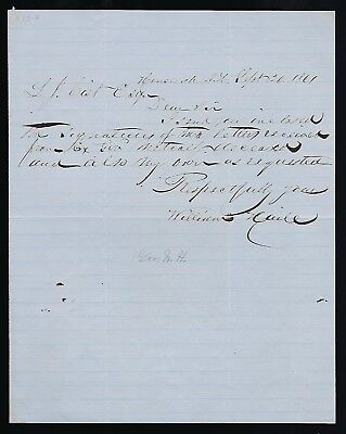 Henry Hubbard signed letter dated 1861 he was the 26th Governor New Hampshire