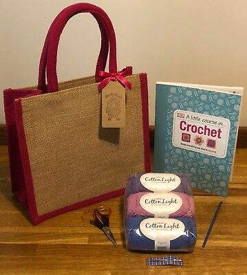 Cute Beginner Learn To Crochet Kit + Little Course In Crochet Book 3 Bag Options
