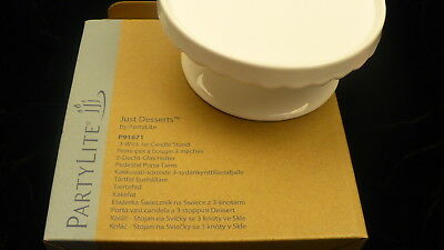 Party Lite  Just Desserts NEW 3 wick jar candle stand P91671 mini cake stand NIB
