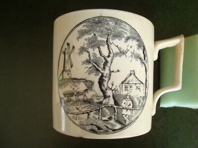 Large Antique Creamware ? Mug  Mill , House,  Miller But Where Is His Donkey ?