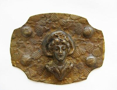 Antique Vintage Victorian Brass Woman Pinecones Large Brooch Pin C Clasp 25g