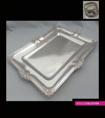 LARGE ANTIQUE 1900s FRENCH STERLING SILVER SERVING TRAY/PLATTER 17.36 in 43.8 oz