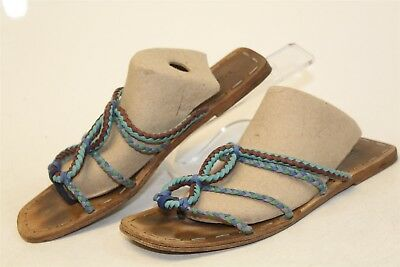 9d0839915743 Prada Womens 9 39 USED Braided Cord Strap Flat Sandals Italy Made Shoes ag