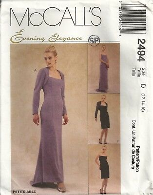 MCCALLS 2494 MISSES SIZE 12-16 Evening Elegance DRESS & SHRUG SEWING PATTERN OOP