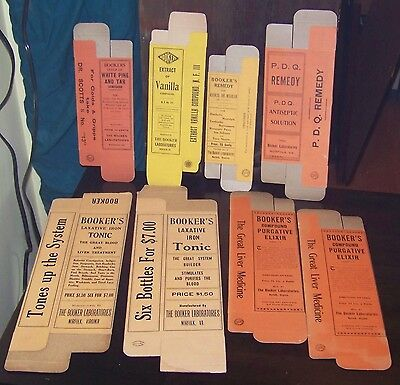 8 BOXES vintage 1920s APOTHECARY DRUG PHARMACY Labels EPHEMERA LOT movie props