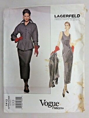 VTG UNCUT Vogue Paris designer Lagerfeld 1412! Maxi wiggle sheath dress & jacket