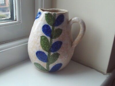 Charming Vintage Studio Pottery Jug ~ Green & Blue Leaf Design Spongeware? 5.25""