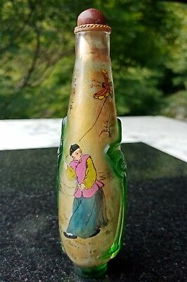 Beautiful Fine Antique Chinese Layered Glass Inside Painted Snuff Bottle Child