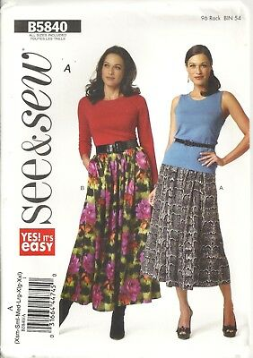 BUTTERICK See&Sew B5840 MISSES' SIZE XS-XXL SKIRTS SEWING PATTERN