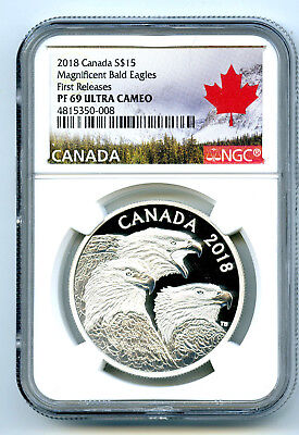2018 1Oz Canada $15 Silver Proof Ngc Pf69 Magnificent Bald Eagle First Releases
