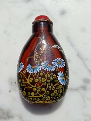 Beautiful Antique Chinese Glass Painted Snuff Bottle Flowers Dragonfly Butterfly