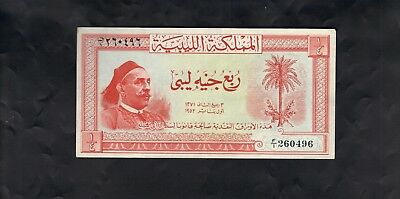 Libya Bank Note - 1952 - King Idris - Quarter Libyan Pound