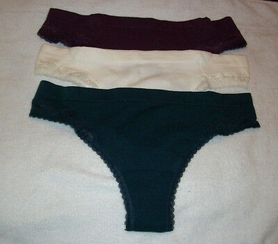 Three Pairs Of Ladies / Womans Seamfree  Lace Trim Thong Knickers Size 14-16 New