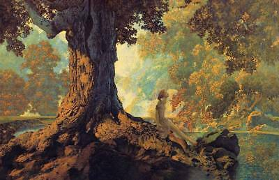 Trees Lady Stream by Maxfield Parrish