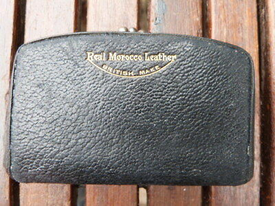 Vintage Mid Century Small Real Morocco Leather Ladies Purse With Metal Clasp.