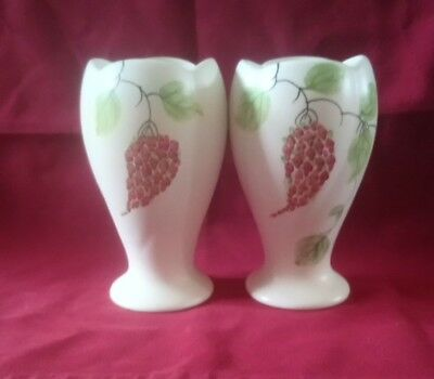 Pair Of Radford Hand Painted Tulip Vases 14cm Tall Signed On Base Great Conditio