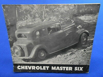 1934 Chevrolet Master Six ORIGINAL SALE BROCHURE Coupe Cabriolet Roadster Sedan