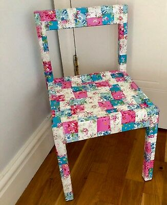 Children's Decoupaged Floral Chairs - 1 White Floral & 1 Patchwork Floral