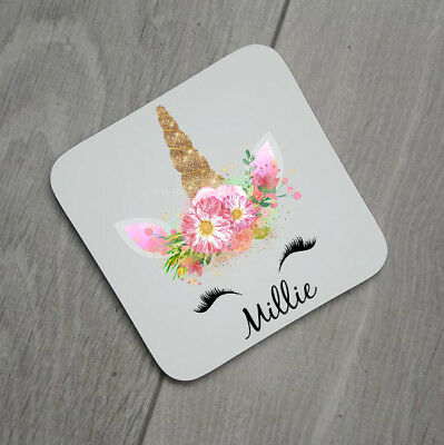 Personalised Gold Unicorn Coaster Gift For Unicorn Lover With Name Coffee Cup