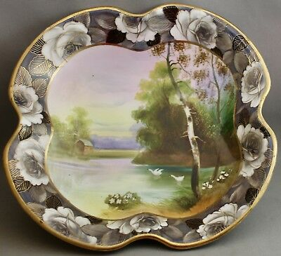 Hand Painted Nippon Four Footed Bowl-Lake Scene/swans/rose Border   L 922