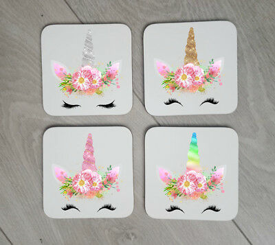 Set of 4 Gold Unicorn Coasters Gift For Unicorn Lover With Name Coffee Cup four
