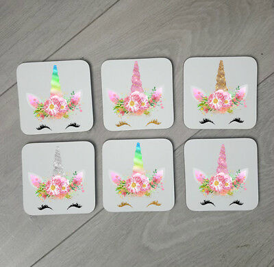 Set of 6 Gold Unicorn Coasters Gift For Unicorn Lover With Name Coffee Cup four