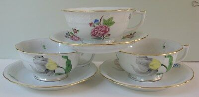 3 Vintage Herend Cups & Saucers, Yellow Tulips, Pink Peonys, Hungary