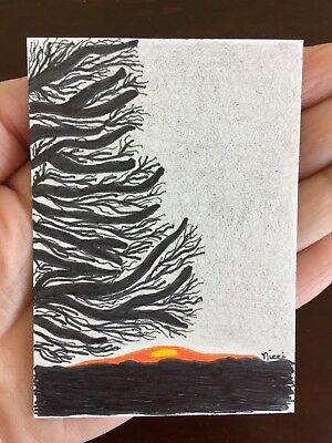 ACEO Original Drawing First Light Pencil and Ink Art by Nicole Fekaris
