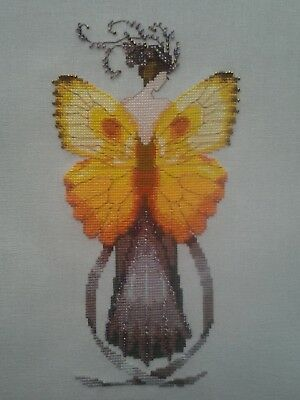"""Nora Corbett """"Miss Solar Elipse"""" Butterfly Completed Cross Stitch"""