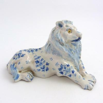 French Faience Model Of A Recumbent Lion With Glass Eyes, 19Th Century