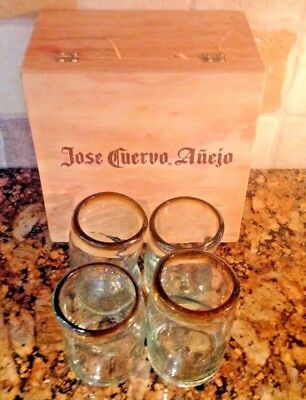 Boxed Set of 4 Glasses Tequila in Jose Cuervo Anejo Box hand blown Amber Rims
