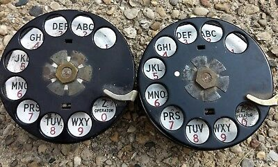 2 Black Metal Western Electric Rotary Dials Only For Parts