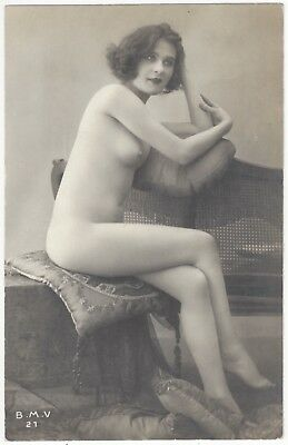 1920 French NUDE Photograph - Beautiful Face, Tall & Slender