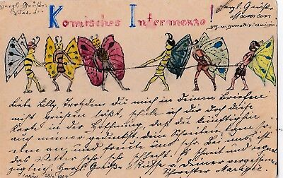 t children early old antique postcard elves faries hand drawn postmark 1904