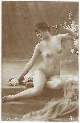1920 French NUDE Photograph - Frontal Brunette by Jean Agelou
